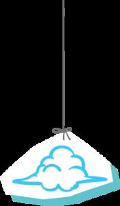ענן מאוייר תלוי על חוט