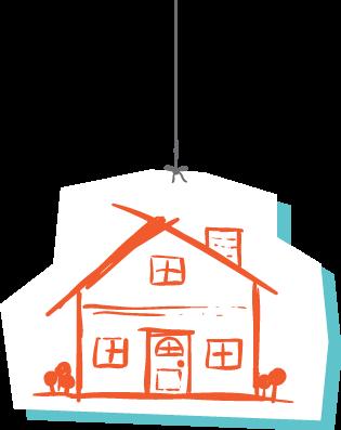 בית מצויר תלוי על חוט
