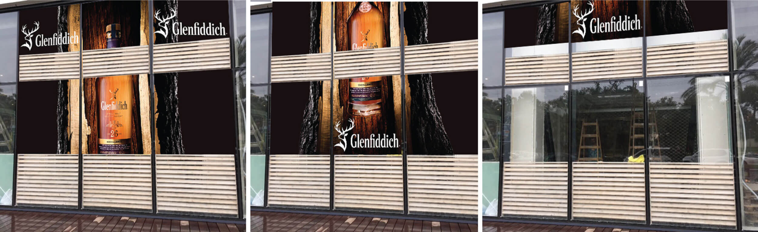 Branded curtain for Wine in the city in Sarona Market. A bottle of Glenfiddich 26 inside a wood with logo on both sides
