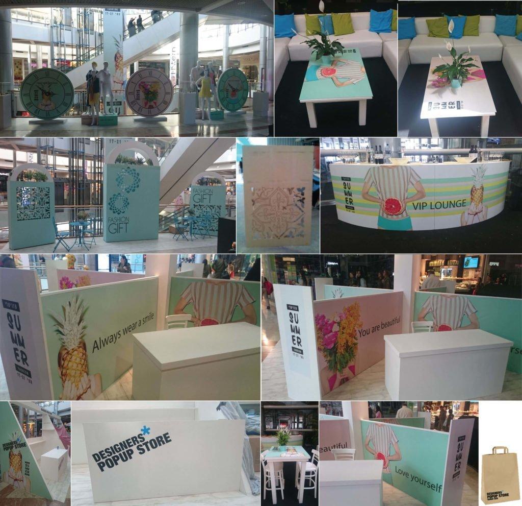 עיצוב תערוכה ופואפ סטור בקניון עזריאלי תל אביב עם שעוני ענק תיקי דקורציה ועיצוב מתחמי מכירות