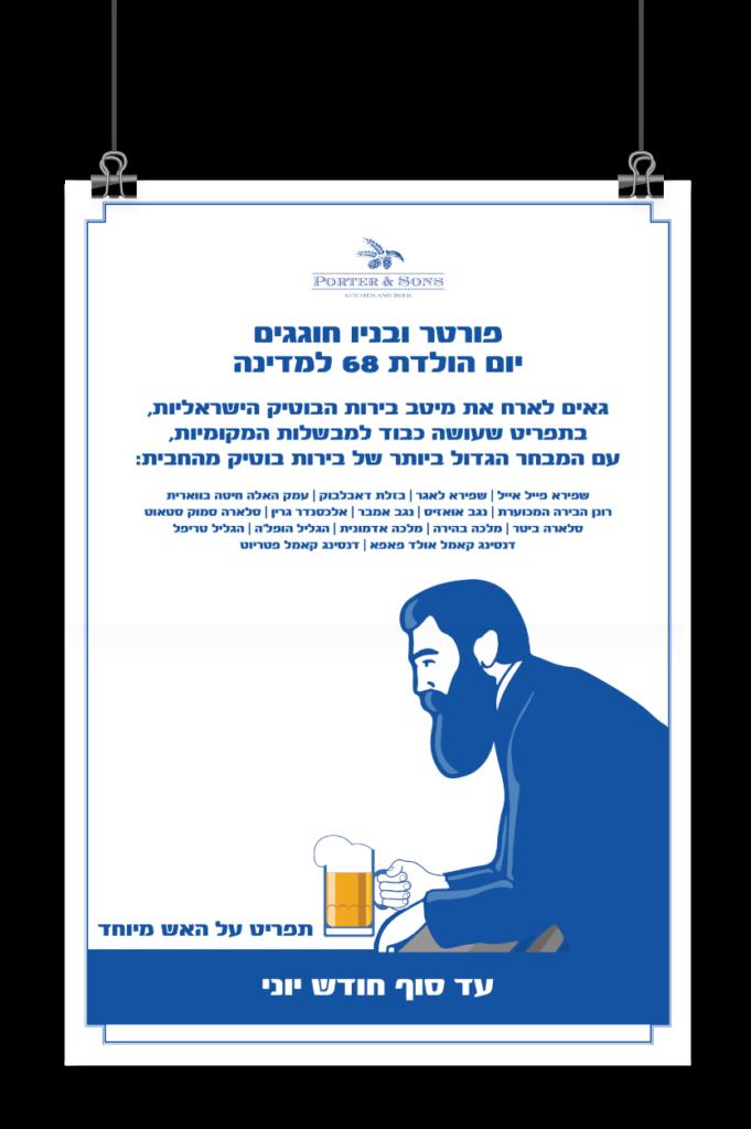 עיצוב פוסטר למסעדה, עיצוב גרפי עם איור של הרצל שוצתה בירה
