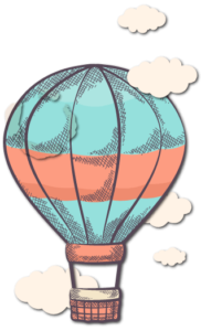 red blue air balloon drawing איור של בלון פורח