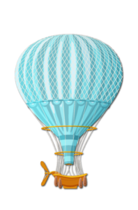 blue air balloon drawing איור של בלון פורח