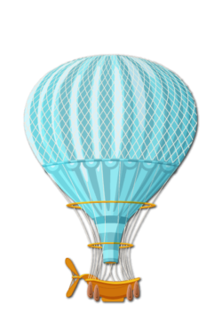 blue air balloon drawing איור של בלון פורח