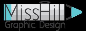 הלוגו של מיס הילה מעצבת גרפית ועיצוב אתרים כתב אפור כהה על פסים אפורים שיוצרים עיפרון ומעליהם כתובים הפרטים של הלוגו