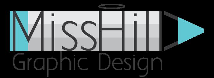 הלוגו של מיס הילה עיצוב גרפי ובניית אתרים, פסים אפורים שיוצרים עיפרון ומעליהם כתוב שם העסק באנגלית עם הילה מעל האות I