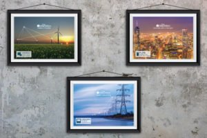 Elspec' commercial advertising images. Wind turbines connected with electrical white line,
