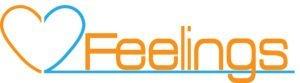 Logo for 2 feelings, the digit 2 make 2 colors heart, half blue, half orange