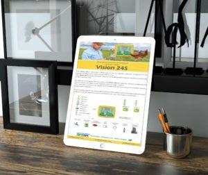 עיצוב ניוזלטר למוצר הייטק לחקלאות הדמיה של טאבלט מונח על שולחן משרדי