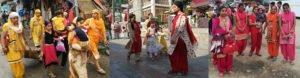 שלוש תמונות של קבוצות נשים הודיות שלבושות באותם הגוונים
