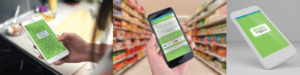 הדמיה לעיצוב אפליקציה ל-scan Gluten. תמונות של של 3 סמארטפונים כשבכל אחד מופיע מסך אחר של האפליקציה. טלפון עומד באלכסון, טלפון ביד של גבר בתוך הסופר, טלפון ביד של אישה במטבח
