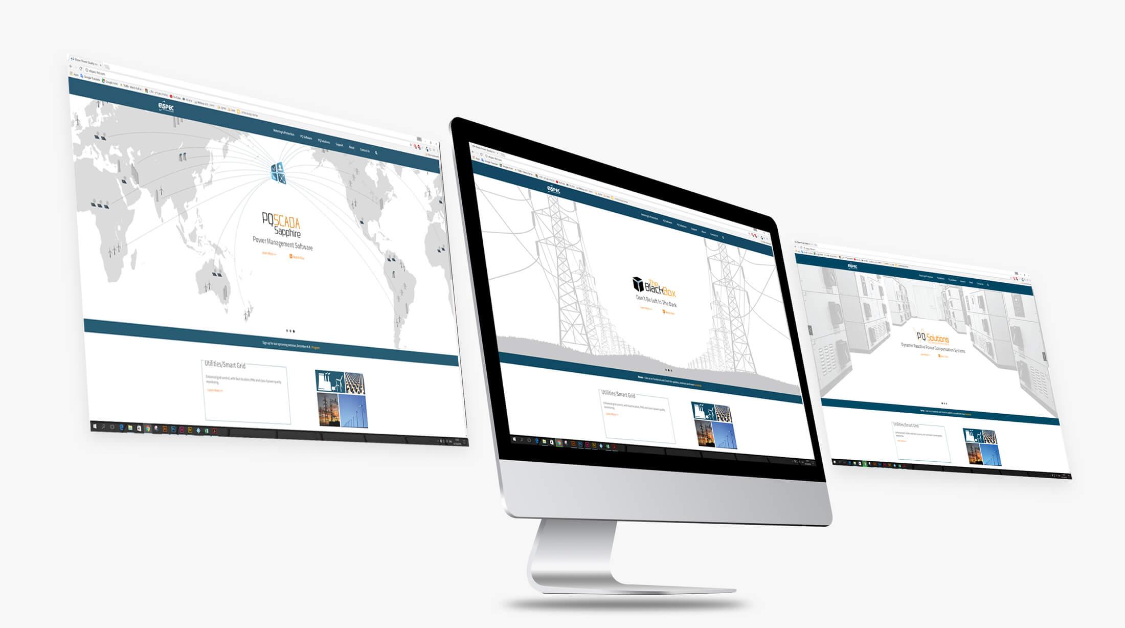 הדמיה לעיצוב המסכים של חברת אלספק. פולדים עם איורים אפורים בהרים בנושאי חשמל: חדר שרתים, עמודי חשמל וגלובוס