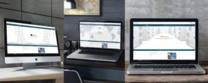 צילומי מסך של אתר אלספק. חדר שרתים, מפת העולם ועמודי חשמל, כולם בגוונים אפורים בהירים, מאויריםומעליהם פסים כחולים בצבעי המותג. כל לפטופ מונח על שולחן אחר בסגנון משרד שונה