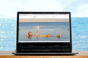 """צילום מסך של ישראלנדו. איש צף בים המלח מנופף לשלום וכתוב באיטלקית """"פשוט לצוף"""""""