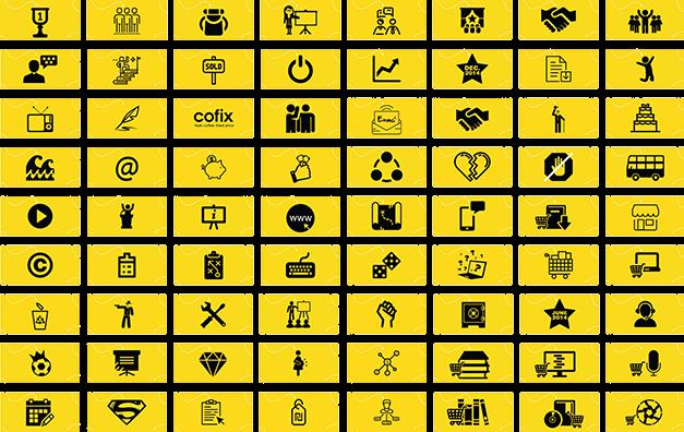72 אייקונים שחורים על רקע צהוב לאוצר של רוזין רוזנבלום