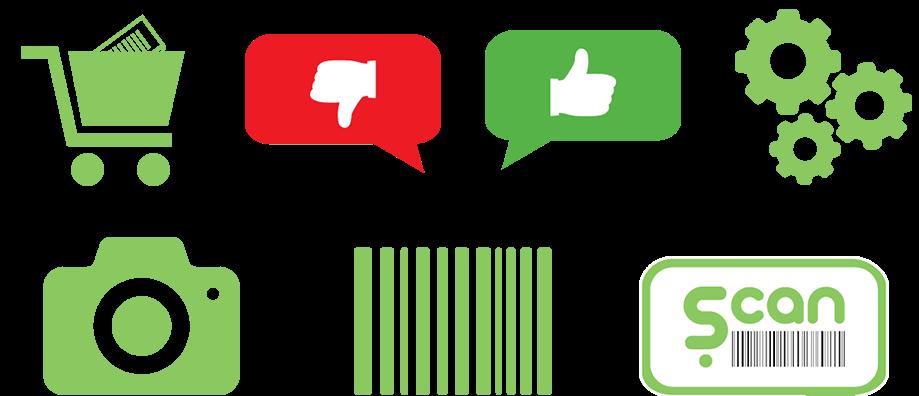 אייקונים ירוקים לאפליקציית scan gluten. גלגלי שיניים, כן, לא, עגלת קניות, לוגו, סריקה ותמונה