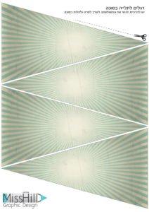 דגלים לשרשרת דגלים בצבעי וינטאג' בגוונים ירקרקים. בעיצוב גרפי