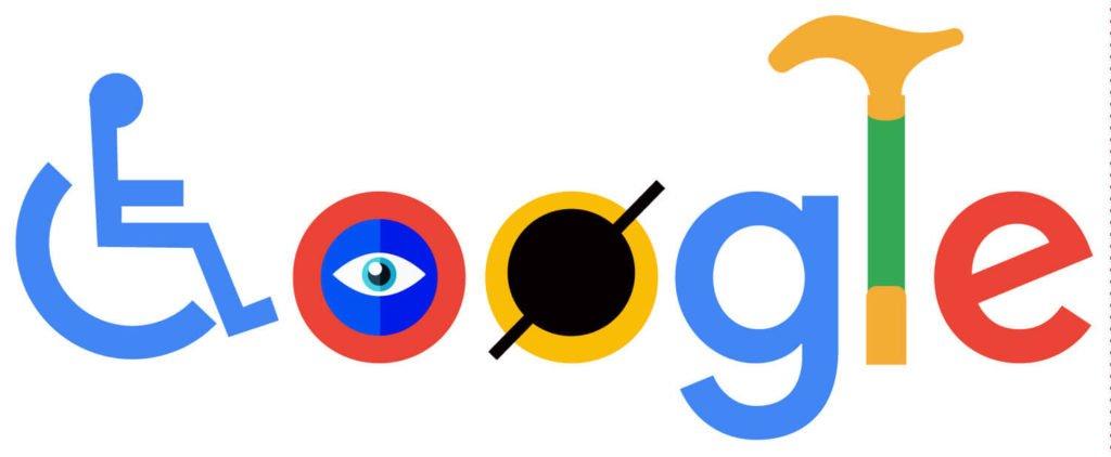 לוגו גוגל מעוצב להנגשה עם כסא גלגלים, רטייה ומקל הליכה בתוך הטקסט. מצחיק