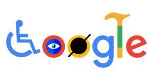 לוגו גוגל עם וריאציה לנגישות. אות ראשונה הוסבה לכסא גלגלים, עם ה-O יש רטייה וה-L הפכה להיות מקל הליכה